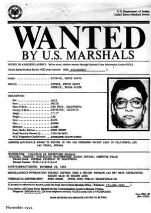 Kevin Mitnick's Wanted Poster: First ever for computer crime.
