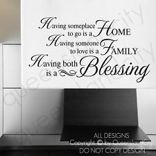 HOME FAMILY BLESSING ~ Wall Art Quote Vinyl Decals Stickers