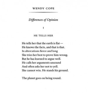 Differences of Opinion by Wendy Cope