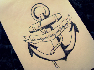 Lettering Banner n Anchor Tattoo Design