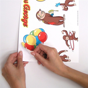 ... curious george wall decal kids room stickers decorations monkey decor