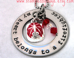 Firefighter Firemans Necklace Firef ighter My Heart Belongs to a ...