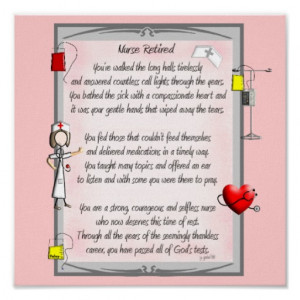 Retired Nurse Canvas Art Poem by Gail Gabel,RN Print