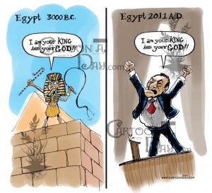Hosni Mubarak-Egypt Crisis Political Cartoons