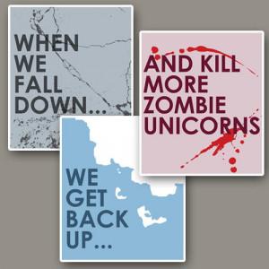 Zombie Unicorn Minimalist Humor Quote Prints: Three 12x14 Art ...