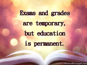 Inspirational quote on education exams and grades for greeting card