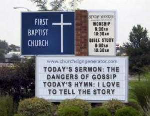 Gossip and love in a funny church sign