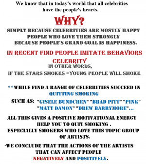 celebrities Smoking - Are smokers celebrities role models?