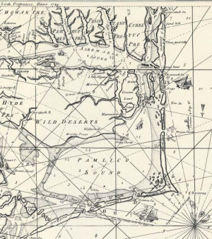 1738 map of eastern North Carolina, showing the sounds and inlets.