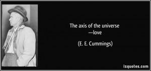 the axis of the universe —love - E. E. Cummings