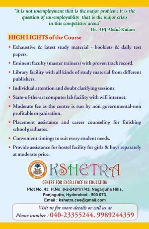 Kshetra - Centre for Excellence in Education , Panjagutta