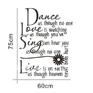 Dance Love Sing Live Quote Vinyl Decor Removable Wall Stickers Art ...