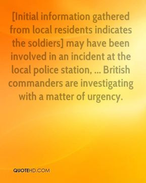 Geoffrey Hoon - [Initial information gathered from local residents ...