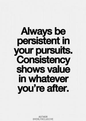 Consistency shows value.