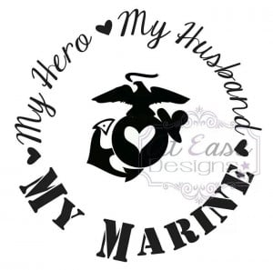 My hero my husband my marine decal