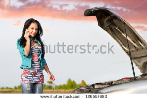 Broken Down Car Call For Help Stock Image Iqoncept