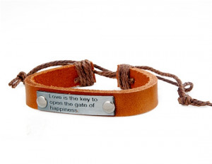 Love Quote Leather Bracelet M.(China (Mainland))