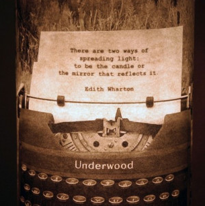 Vintage Typewriter Lantern with secret Edith Wharton Quote