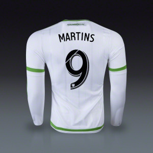 Obafemi Martins Seattle Sounders Long Sleeve Authentic Away Jersey ...