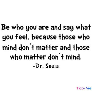 DR SEUSS BE WHO YOU ARE SAY WHAT YOU FEEL Quote Vinyl Wall Decal Decor ...
