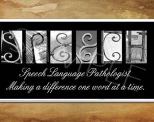 SPEECH Language Pathologist Plaque black & white letter art ...