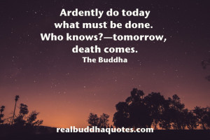 Ardently do today what must be done. Who knows? Tomorrow, death comes ...