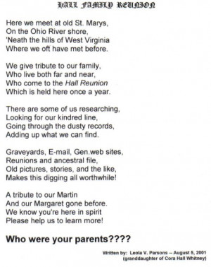 Family Reunion Wele Poem...