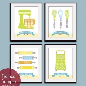 Cute Kitchen Quotes (Pattern Kitchen Prep Utensils) Set of 4 - 11x14 ...