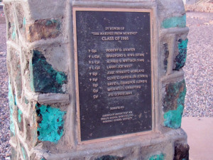 The plaque outside the new highs school pays tribute to the Morenci ...
