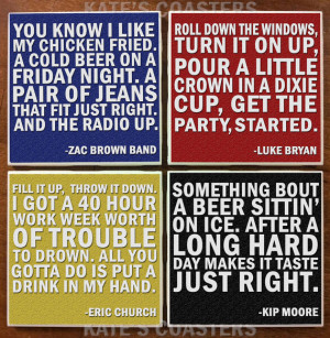 Set of 4 country quotes ceramic tile coasters