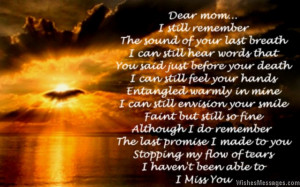 Miss You Mom Poems Death I miss you poem for mom after