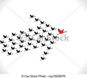 Leadership and Synergy Concept Illustration : A number of Swans flying ...