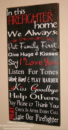 Firefighter House Rules, Firefighter Decor, Distressed Wall Decor ...