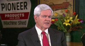 Newt Gingrich is seen during an interview with CBN's David Brody.
