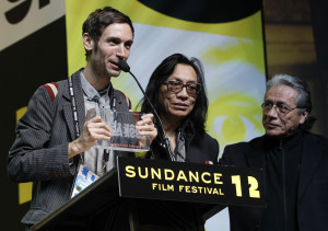 Malik Bendjelloul left and documentary film subject Rodriguez