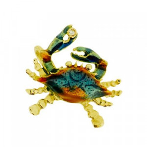 Small Blue Crab Charm with Diamond