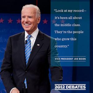 At Thursday's debate, Vice President Biden said, 'Look at my record ...