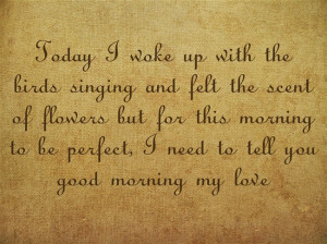 ... this morning to be perfect, I need to tell you good morning my love