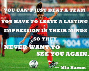 Girls Soccer Poster Mia Hamm Photo Quote Wall Art Print 8x11