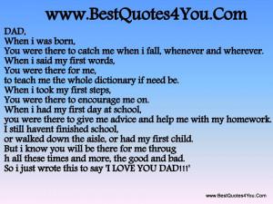 When I was Born ~ Father Quote