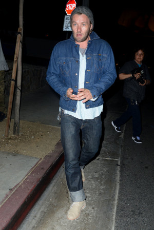 Joel Edgerton rocked double denim when he left Hollywood 39 s famed