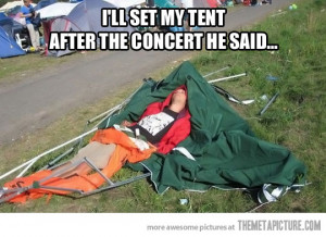 Funny photos funny guy sleeping concert tent