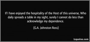 If I have enjoyed the hospitality of the Host of this universe, Who ...