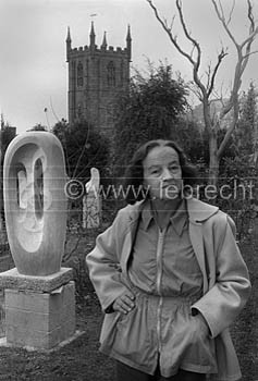Barbara Hepworth in the grounds of her workplace, Trewyn Studios in St ...