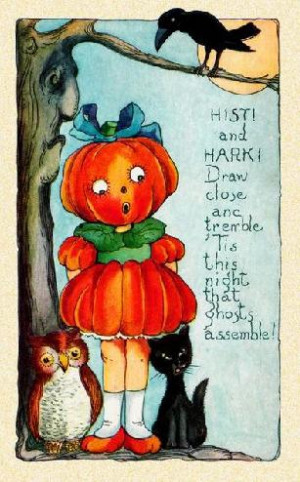 crow,cat and pumpkin Halloween quote and sayings