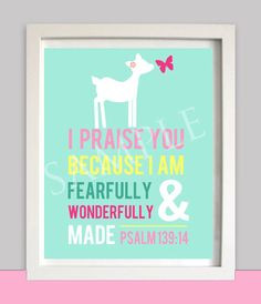 Nursery Wall art - Woodland - Girl's Room Art - Deer Butterfly - Bible ...
