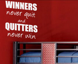 Details about Winner Never Quit Sports Vinyl Wall Lettering Quote S25