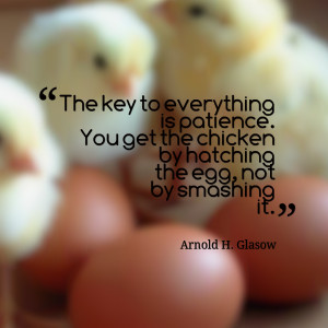 Quotes Picture: the key to everything is patience you get the chicken ...