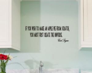 Carl Sagan apple pie quote vinyl wall decal 60cm x 22cm