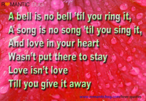 Romantic Message: A bell is no bell 'til you ring it